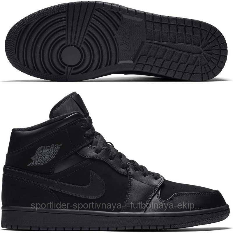 Кроссовки мужские Nike Air Jordan 1 Mid 554724-050 - Спортлидер› спортивная  и футбольная 6122f7a4daa