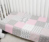 "Плед двухсторонний Patchwork 115×75 ""Розовые фантазии"", размер 120*79 см, фото 1"