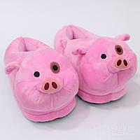 Тапочки домашние Свинки взрослые / тапки комнатные плюшевые с задниками 36-42 размер