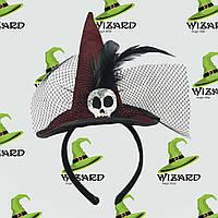 Шляпка на ободке Ведьмочки с черепом бордовая
