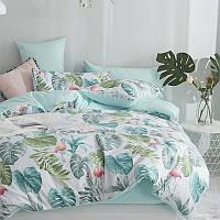 Хлопковый комплект постельного белья Тропический рай (двуспальный-евро), фото 1