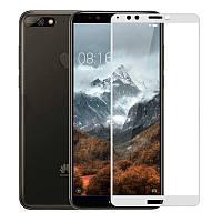 Защитное стекло Huawei Y7 2018 / Y7 Prime 2018 / Honor 7C / Honor 7C Pro Full cover белый 0,26мм в упаковке