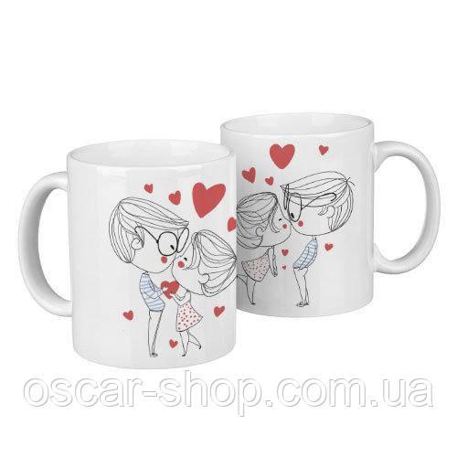 Чашки парні Любов / чашки на подарунок / набір чашок 330 мл