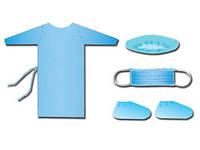 Комплект для посетителей №2, одноразовый (халат+бахилы+шапочка+маска)
