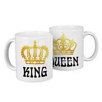 Чашки парные King, queen  / чашки на подарок / набор чашек 330 мл