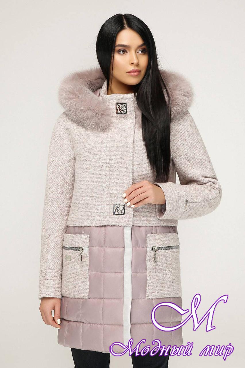 Теплое зимнее пальто с мехом (р. 44-54) арт. 1069 Тон 111