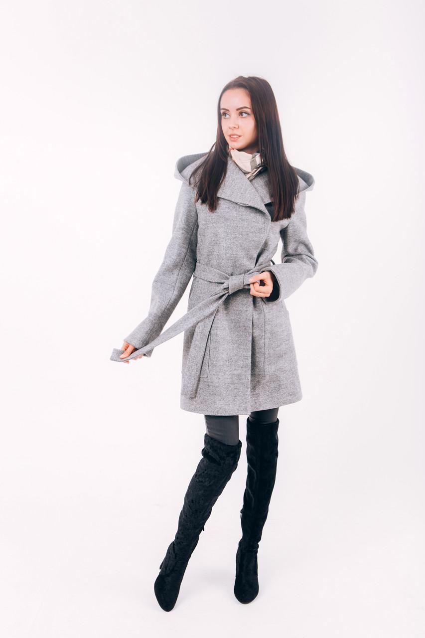 Пальто из шерсти короткое с капюшоном Д 288