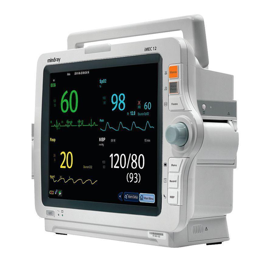 Монітор пацієнта uMEC12 укомпл. аксесуарами: датчик SpO2, кабель ЕКГ для дорослих 5 відведень, набір NIBP аксесуарів, датчик нашкірний, модуль СО2