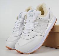de7c152a044f Зимние женские кроссовки New Balance 574 leather white. Живое фото (Реплика  ААА+)