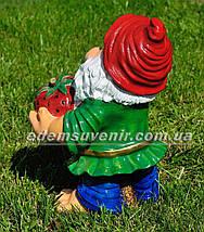 Садовая фигура Гном с клубникой средний, фото 3