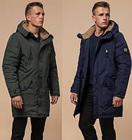 Зимняя мужская куртка-пакра удлиненная на овчине (разные цвета)