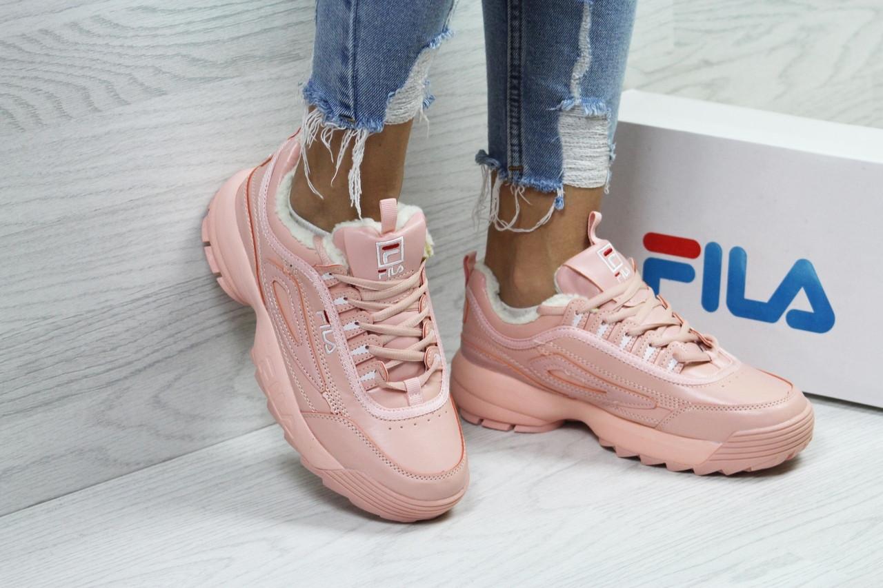 Кроссовки FILA, женские  розовые кроссовки.,теплые кроссовки. ТОП качество!!!  Реплика