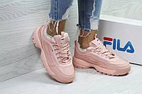 Кроссовки FILA, женские  розовые кроссовки.,теплые кроссовки. ТОП качество!!!  Реплика, фото 1