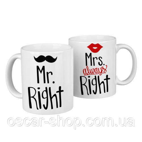 Чашки парные Mr. right, Mrs. always right  / чашки на подарок / набор чашек 330 мл