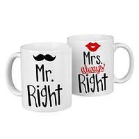 Чашки парные Mr. right, Mrs. always right  / чашки на подарок / набор чашек 330 мл, фото 1