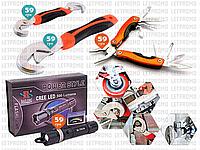 4пр. Универсальный гаечный разводной чудо-ключ Snap-n-Grip в наборе с мультитулом и фонариком Police 8628