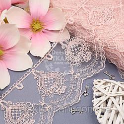 Кружево с ажурными арфами, цвет пыльной розы, ширина 11 см
