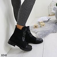 Ботинки женские черные на шнурках 8341
