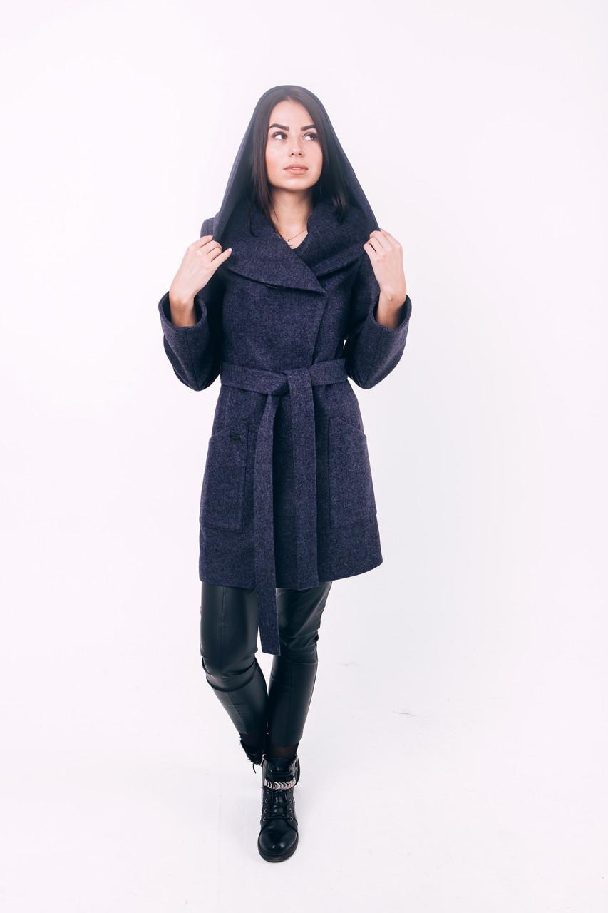 Пальто из шерсти короткое синее Д 288 со скидкой
