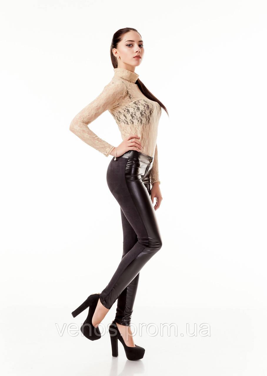 Модные комбинированные женские леггинсы.  L059_черный замш