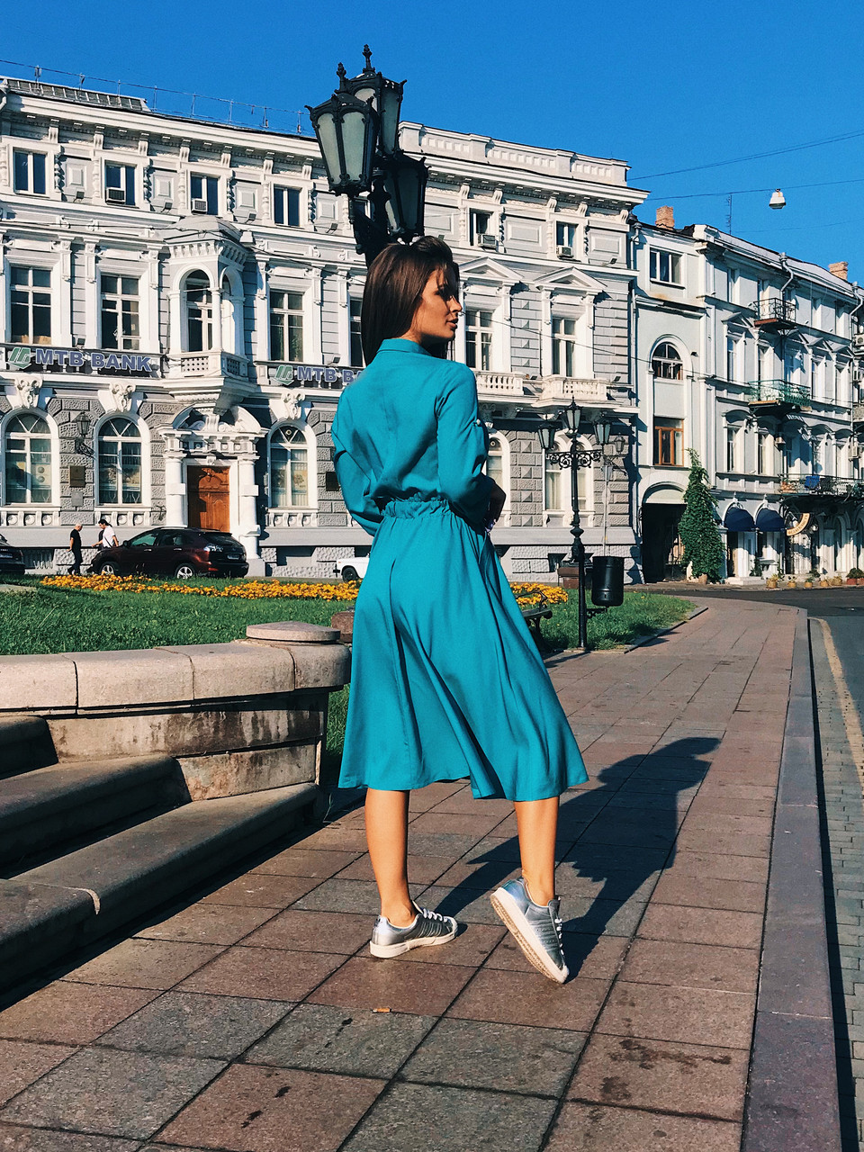 Платье-рубашка бирюзовое, арт.1017, фото 1