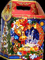 Упаковка для солодощів новорічна Будиночок Різдвяний 1000-1300г (упаковка новогодняя для конфет)