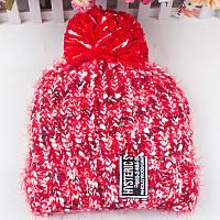 Шерстяная женская зимняя шапка красная опт