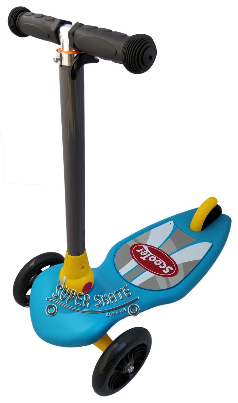 Трехколесный самокат детский Scooter - Omega - Синий / Складная ручка