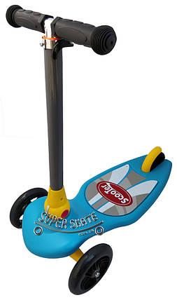 Трехколесный самокат детский Scooter - Omega - Синий / Складная ручка, фото 2