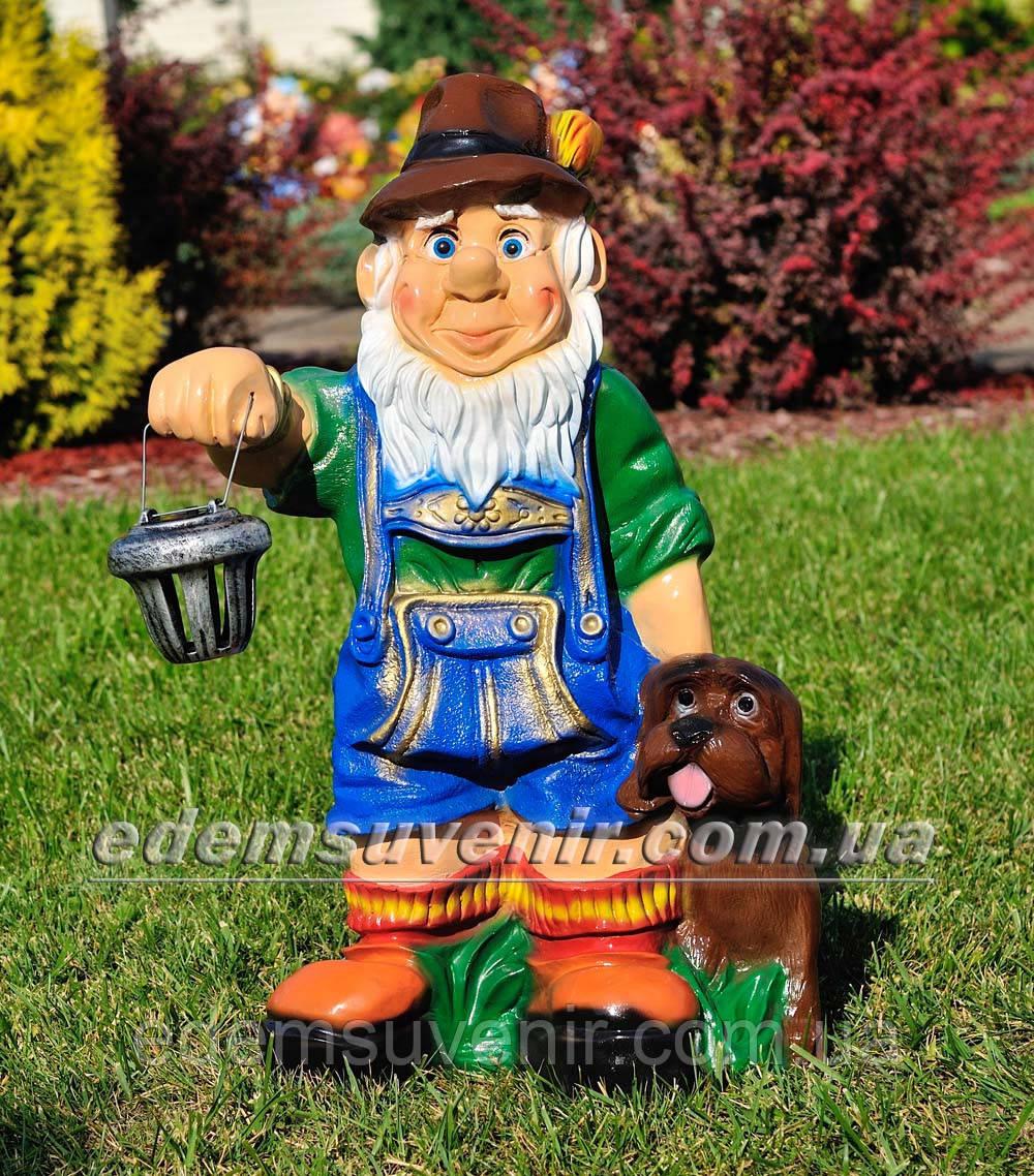 Садовая фигура Гном баварец с фонарем