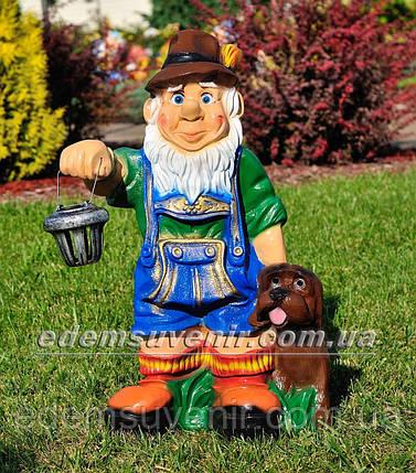 Садовая фигура Гном баварец с фонарем, фото 2