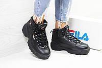 Женские зимние кроссовки черные Fila 6390