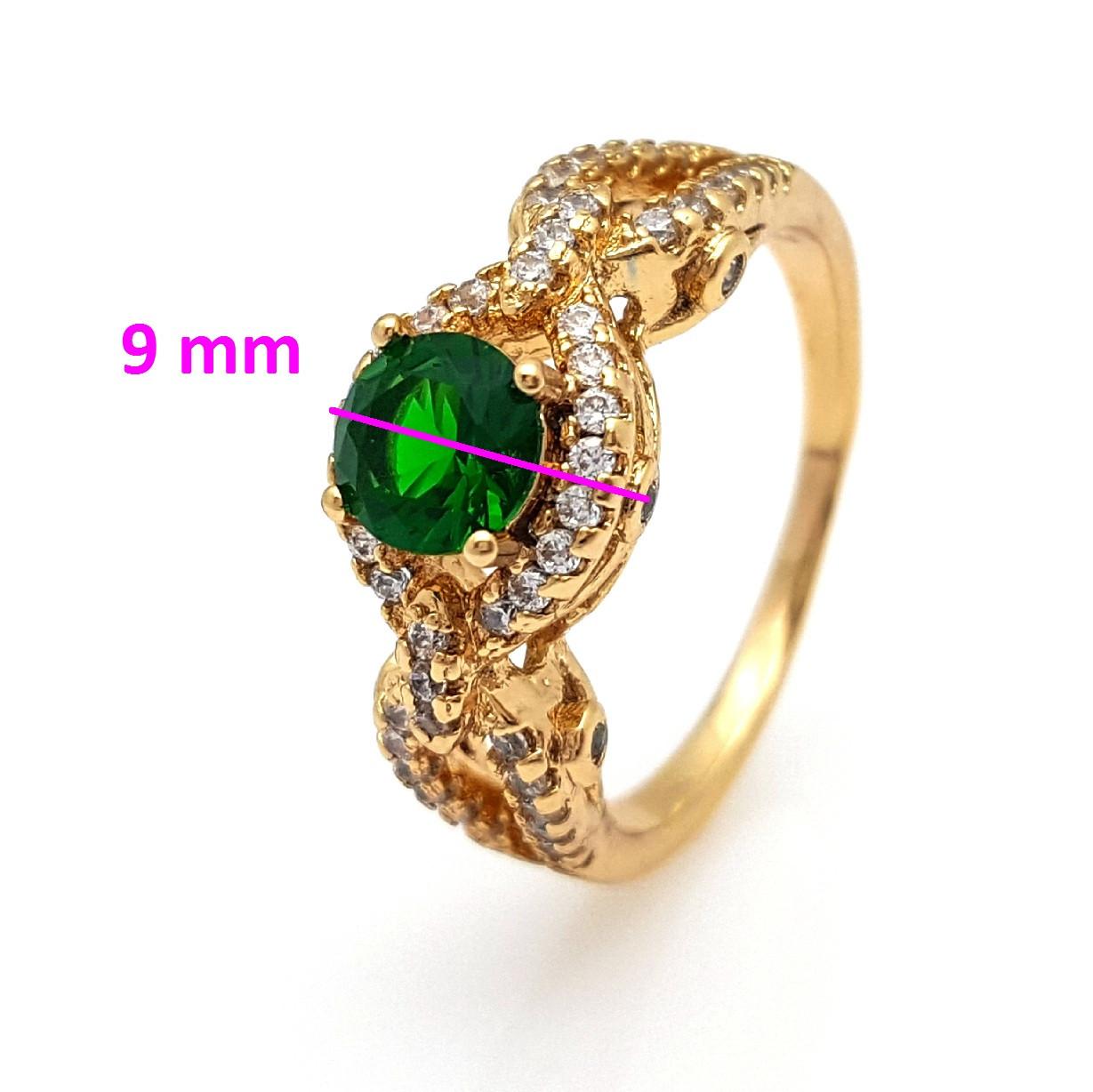 Кольцо Ажурное, с зеленым цирконием, р.19, позолота