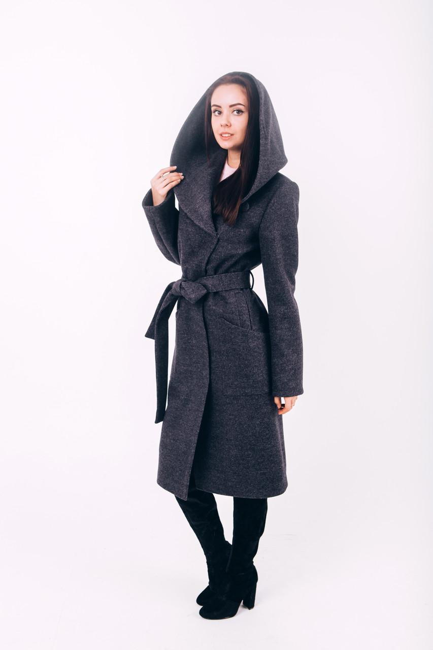 Пальто из шерсти длинное с капюшоном графит Д289