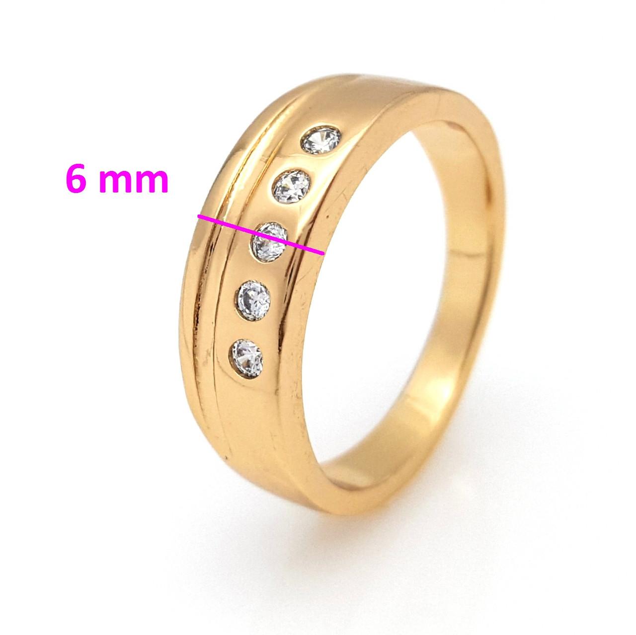 Кольцо Классика, 5 камней, р.16, р.17,  позолота