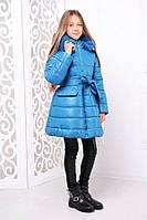 Детская зимняя курточка для девочки с натуральным мехом «Тринити», волна ТМ MANIFIK