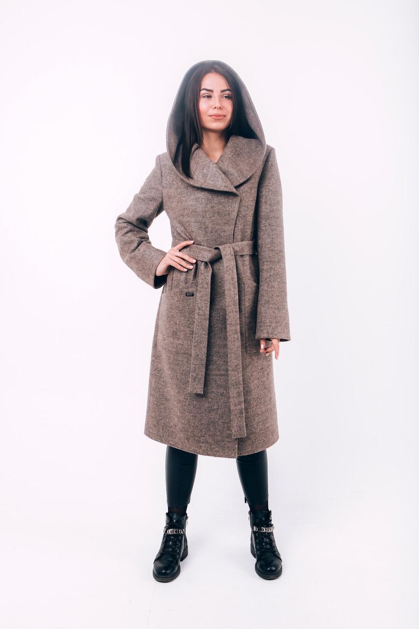 Пальто бежевое длинное с капюшоном Д289