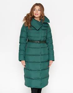 CLASNA | Зимняя женская куртка с поясом 902 зеленый