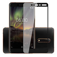 Защитное стекло Nokia 6.1 / Nokia 6 New 2018 Full cover черный 0,26мм в упаковке