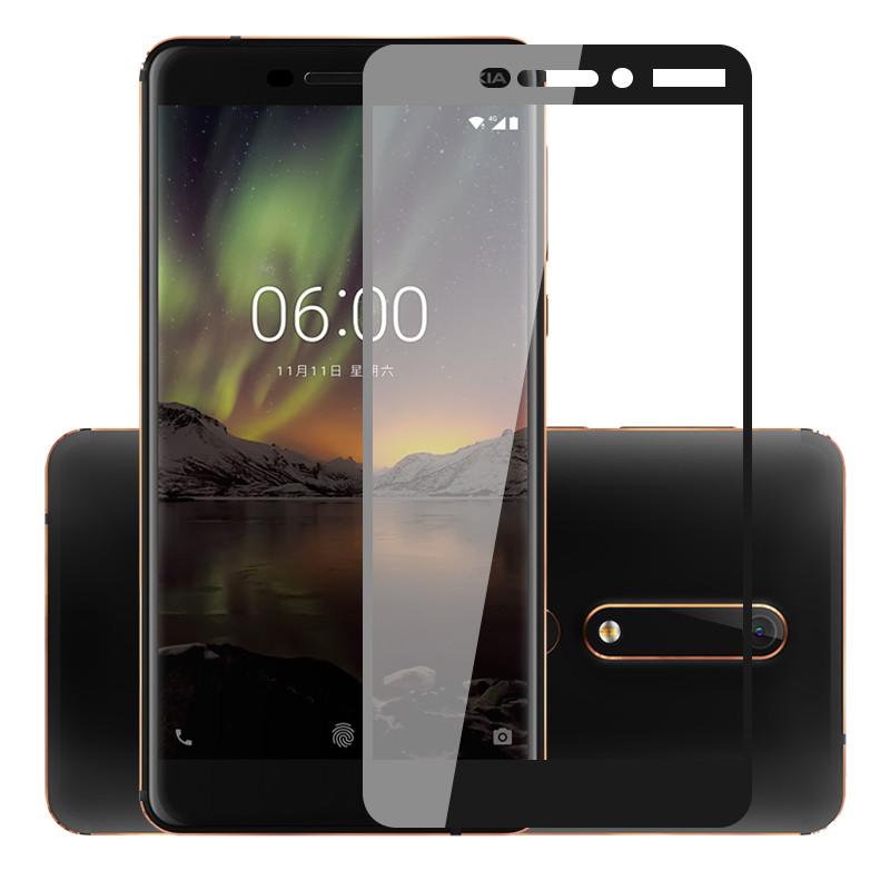 56794bff6408 Защитное стекло Nokia 6.1   Nokia 6 New 2018 Full cover черный 0,26мм в
