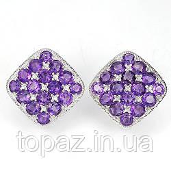 Серьги серебряные 925 натуральный  пурпурный аметист.