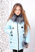 Детская зимняя куртка для девочки «Матильда», минт ТМ MANIFIK
