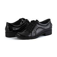 Лаковые туфли черного цвета на низком каблуке, фото 1