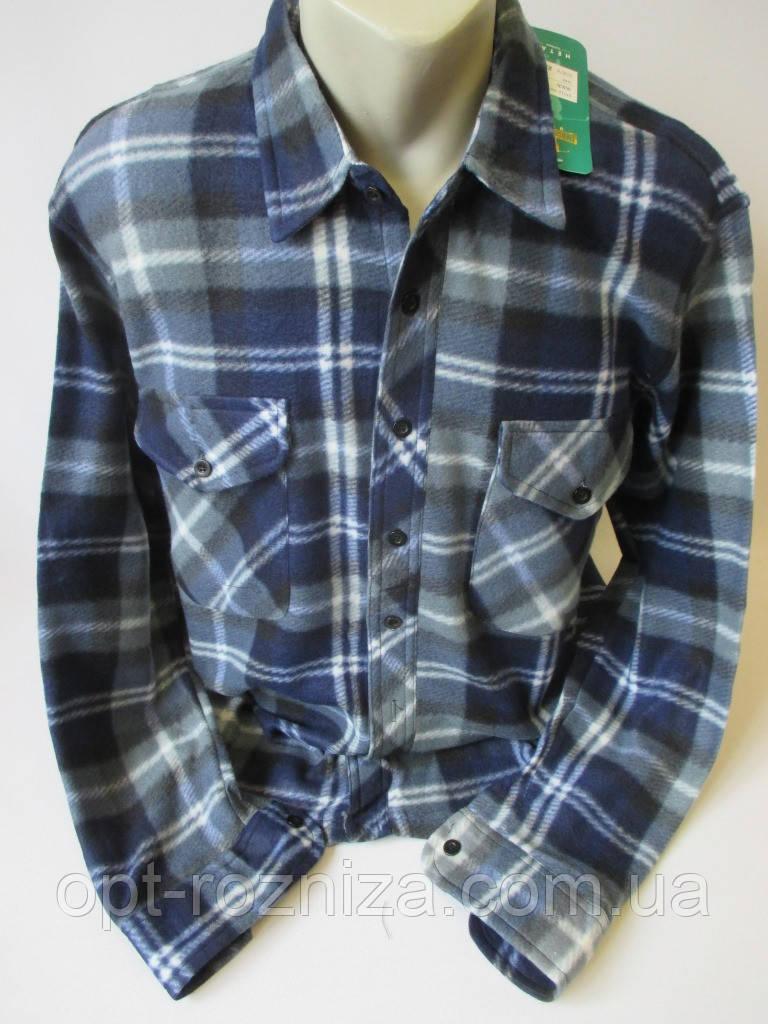 Мужские рубашки из флиса на пуговицах.