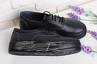 Кожаные черные слипоны на шнуровке недорого от производителя 36-40, фото 1