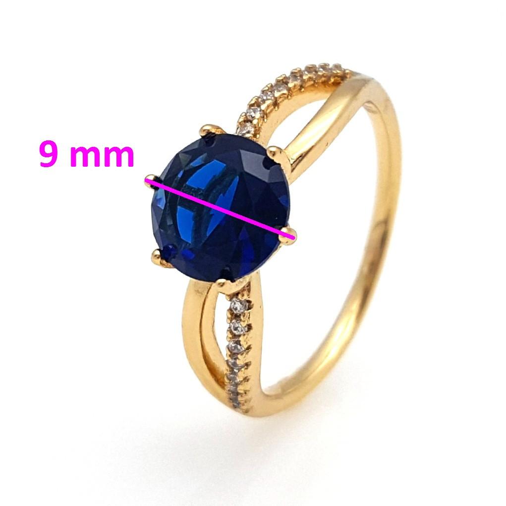 Кольцо Синий цирконий, р.18, р.18,5, позолота