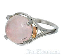"""Женское серебряное кольцо с золотыми пластинами """"Ирис"""" розовый кварц., фото 1"""
