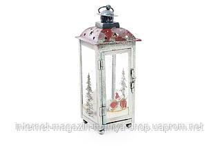 Новогодний металлический фонарь-подсвечник 820-129 со стеклянными вставками 28см