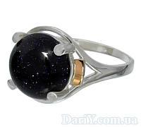 """Женское серебряное кольцо с золотыми пластинами """"Ирис"""" авантюрин Ночь Каира, фото 1"""