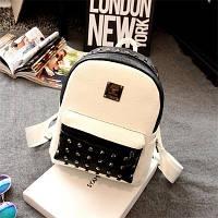 Белый городской рюкзак с черными вставками и заклепками, Рюкзаки женские, Белый городской рюкзак с черными вставками и заклепками